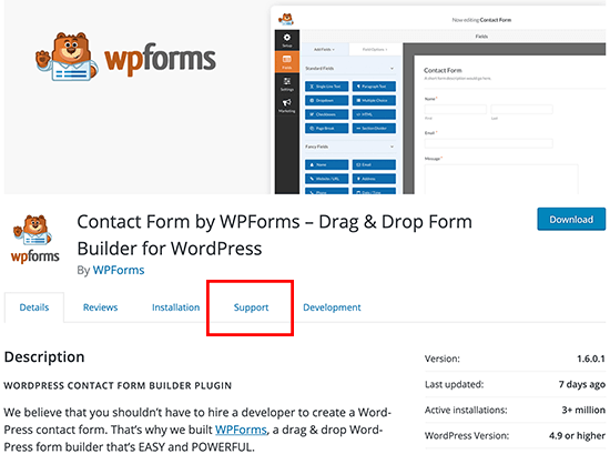 WordPress Plugin Support Menu