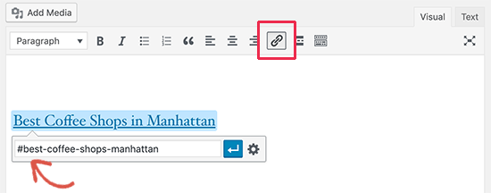Adding an anchor link in Classic Editor
