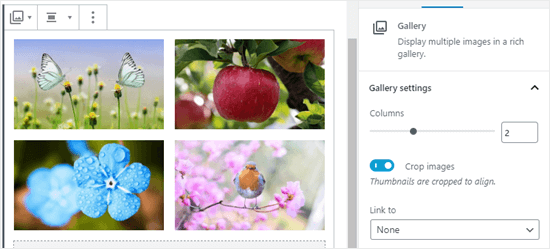 Setting the gallery to have 2 columns rather than 3