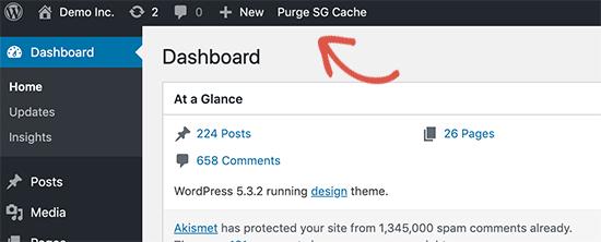 Purge SiteGround cache