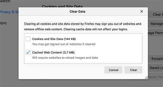 Delete cached content in Firefox