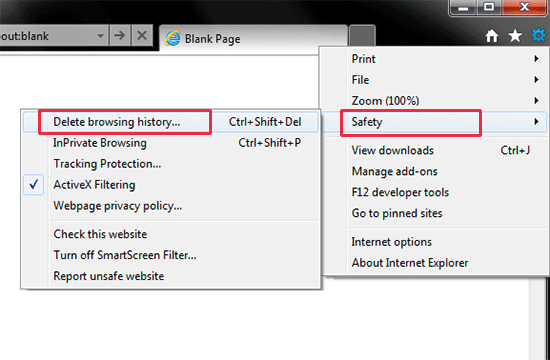Clear browsing data in Internet Explorer