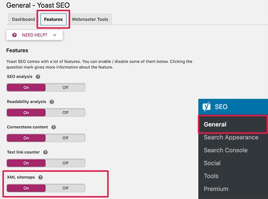 XML Sitemap option in Yoast SEO