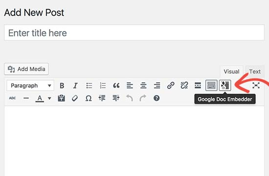Google Doc Embed button