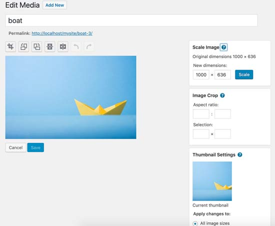 WordPress image editing features