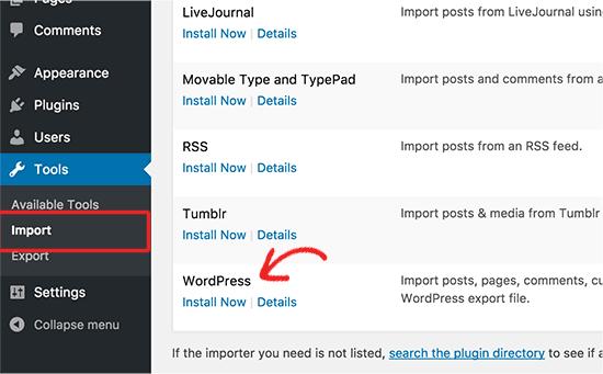 Install WordPress importer