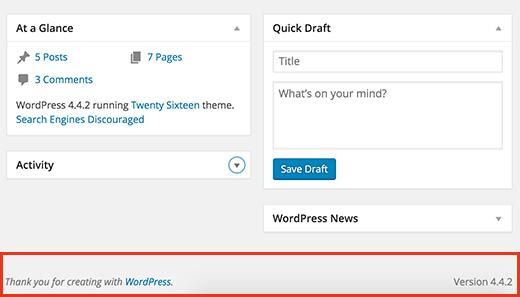 Finding WordPress version inside admin dashboard