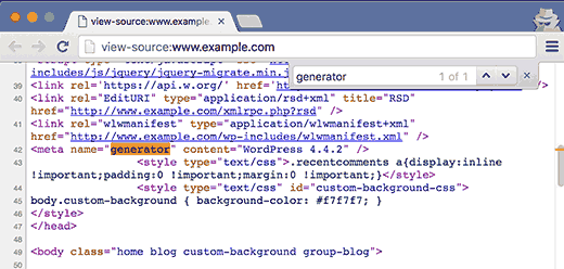 Looking for generator tag in the source code of a WordPress site