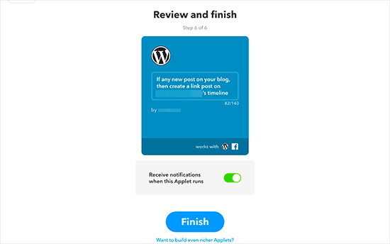 Review your applet and finish