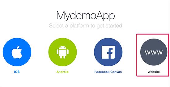 Select website as your platform