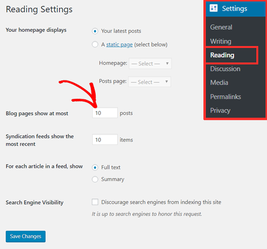 Change Number of Posts on Your Blog Page in WordPress