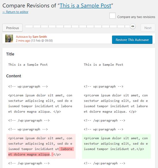 Autosaved Post WordPress