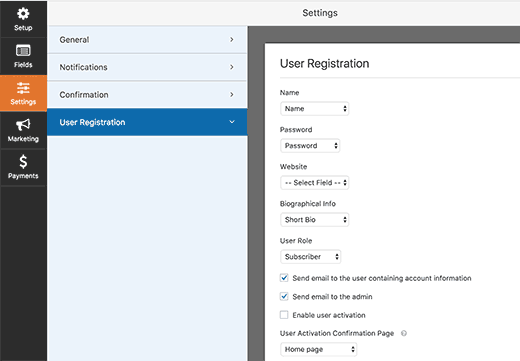 User registration form settings