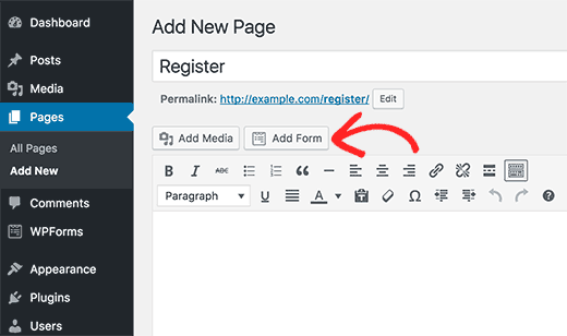 Add form to a page