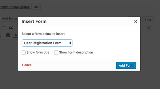 Select and add user registration form to a page in WordPress
