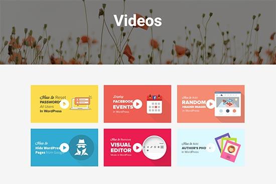 A video gallery in WordPress