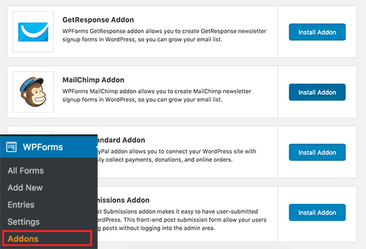 Install MailChimp Addon