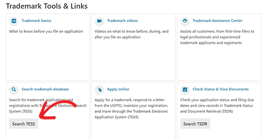Search trademark database TESS
