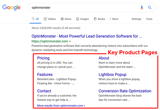 Google Sitelinks Key Product Pages