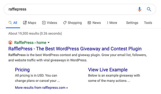 RafflePress Site Link Example