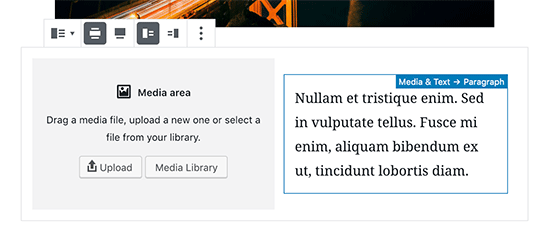 Media and Text block