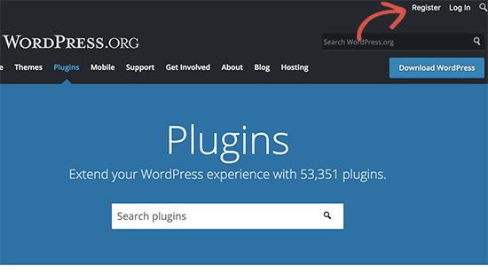 Register for free WordPress.org account