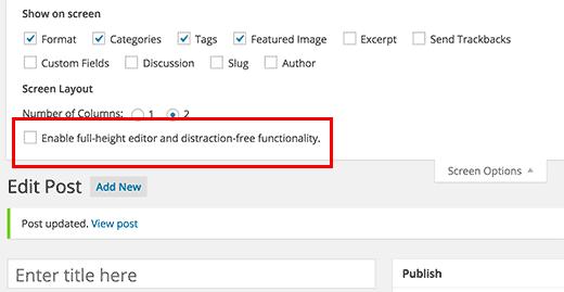 Screen Options menu on the post edit screen in WordPress