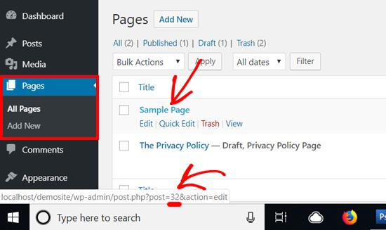 WordPress Page ID