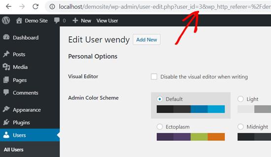 WordPress User ID in Web Browser's Address Bar