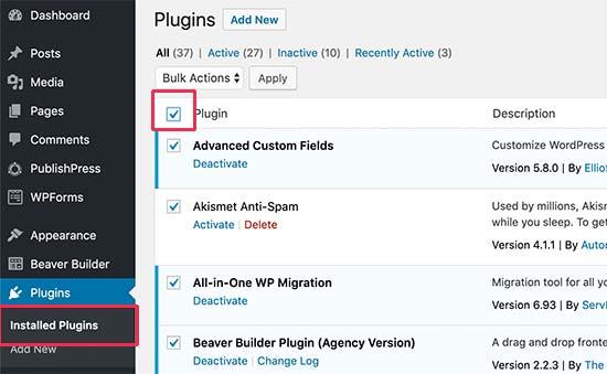 Select all plugins