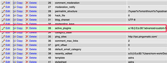Active plugins row in the WordPress database