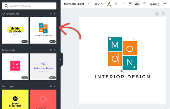 Choosing a logo template and editing it in Canva