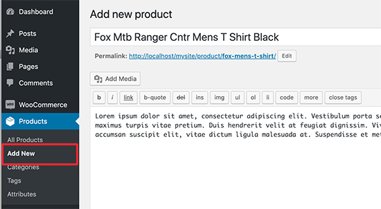 Add new product in WooCommerce