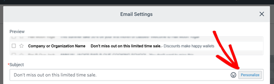 Subject Line Settings for Email Blast in Constant Contact