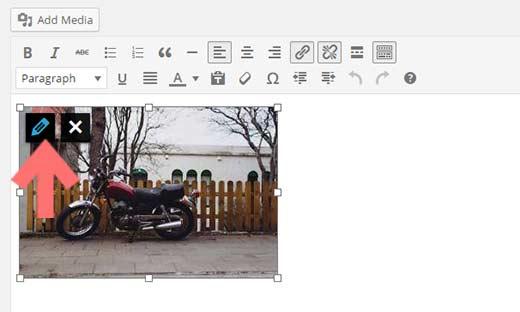 Editing an image inside WordPress visual editor