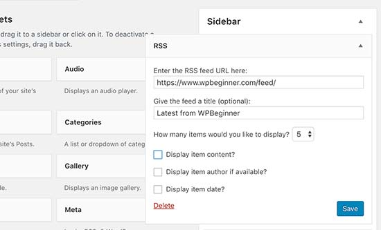 Adding RSS widget to your WordPress site