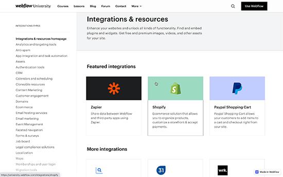 Webflow integrations