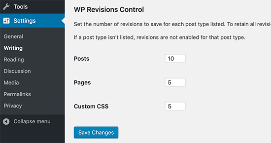 WP Revisions Control settings