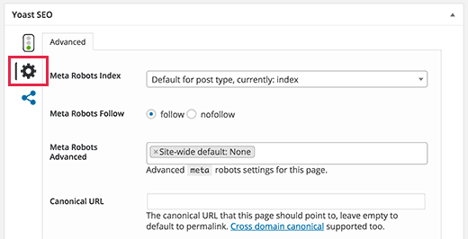 Advanced post settings in Yoast SEO