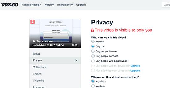 Vimeo video privacy