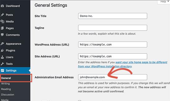 تغییر ایمیل ادمین سایت هنگام خرید سایت آماده وردپرس