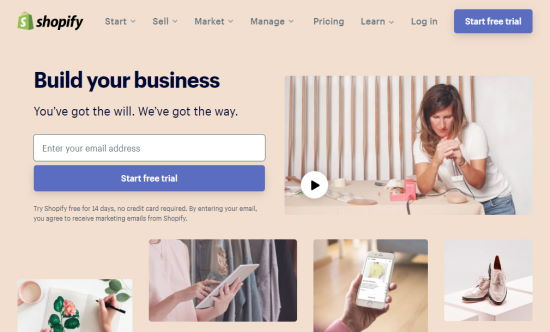 The Shopify front page