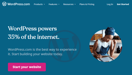 The WordPress.com front page