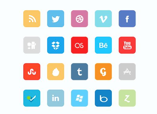 Free Flat Social Media Icon Set