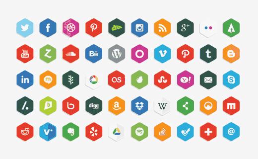 Free Vector Polygon Social Media Icons set by LunarPixel