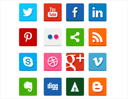 Simple flat social icons