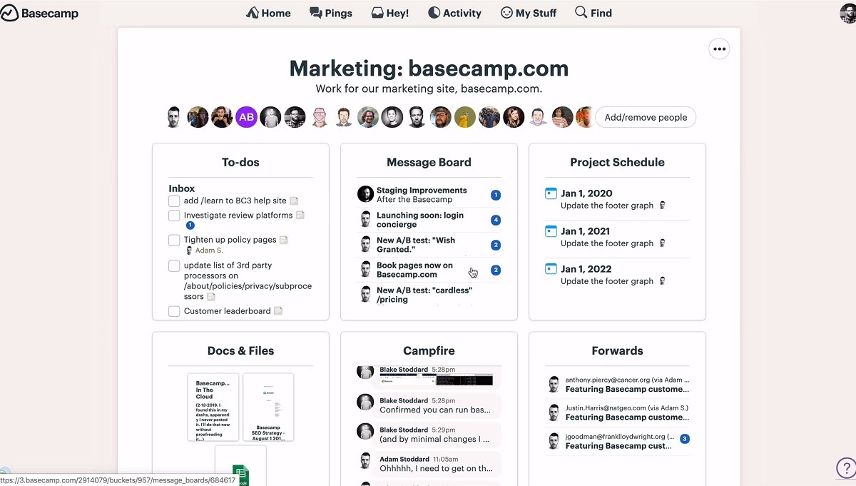basecamp user interface project