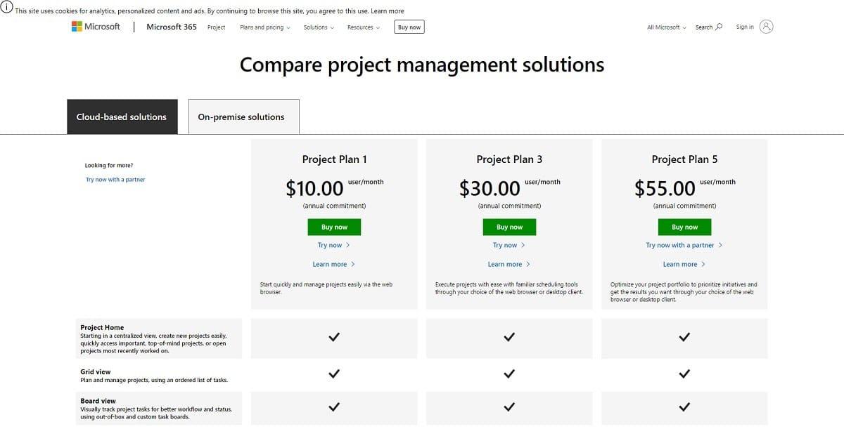 microsoft project pricing