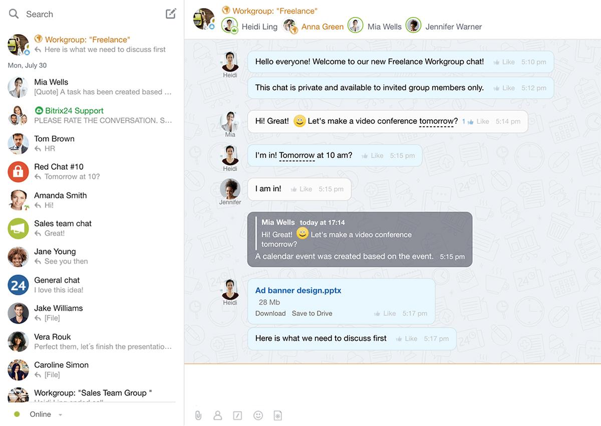 bitrix24 chat interface