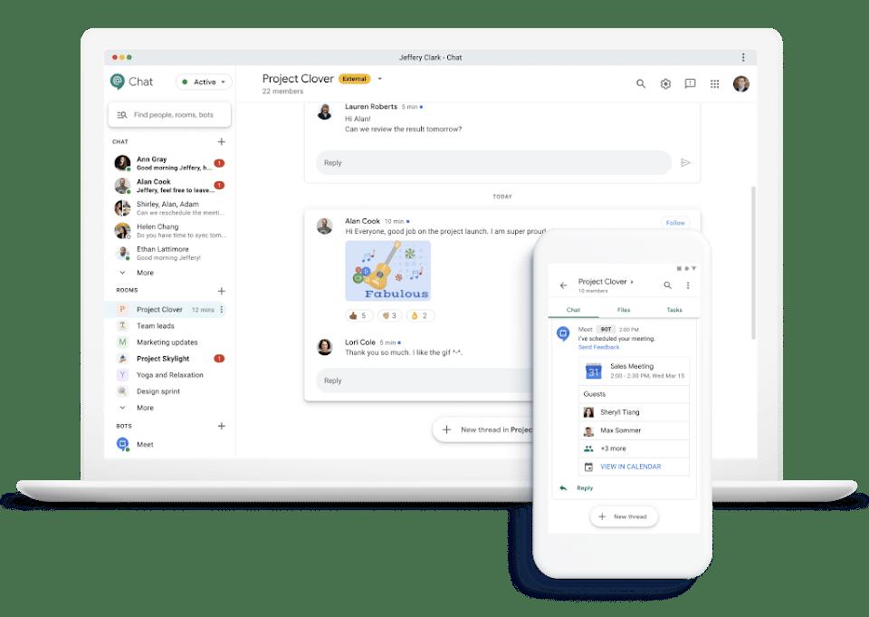 Google Chat interface